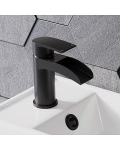 Eden Matt Black Waterfall Cloakroom Basin Mixer Tap