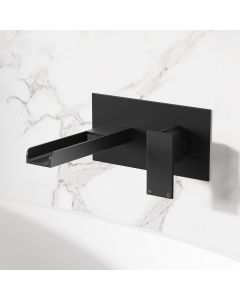Avon Matt Black Waterfall Wall Mounted Basin Mixer Tap