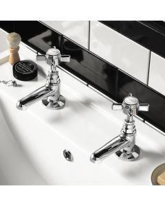 Nene Traditional Chrome Hot & Cold Basin Taps