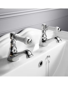 Cherwell Traditional Chrome Hot & Cold Basin Taps
