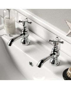 Thames Traditional Chrome Hot & Cold Basin Taps