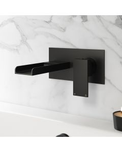 Avon Matt Black Waterfall Wall Mounted Bath Filler