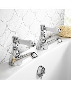 Cherwell Traditional Chrome Hot & Cold Bath Taps