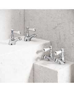 Cherwell Traditional Chrome Hot and Cold Basin & Bath Taps Set