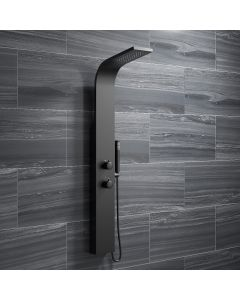 Lismore Matt Black Thermostatic Shower Panel
