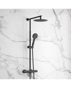 Ballina Premium Cool Touch Matt Black Round Thermostatic Shower with Large 250mm Head