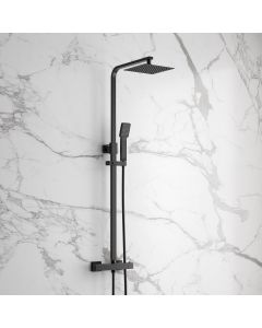 Galway Galway Premium Matt Black Square Thermostatic Shower Set