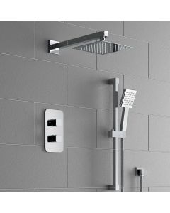 Galway Premium Chrome Square Thermostatic Shower Set - 200mm Head & Slider Hand Shower