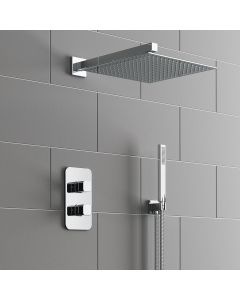 Galway Premium Chrome Square Thermostatic Shower Set - 300mm Head & Hand Shower