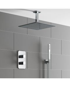 Galway Premium Ceiling Chrome Square Thermostatic Shower Set - 300mm Head & Hand Shower