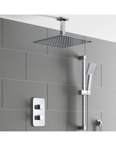 Galway Premium Ceiling Chrome Square Thermostatic Shower Set - 300mm Head & Slider Shower