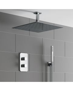 Galway Premium Ceiling Chrome Square Thermostatic Shower Set - 400mm Head & Hand Shower