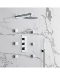 Galway Premium Chrome Square Thermostatic Set - 200mm Head, Hand Shower & Body Jets
