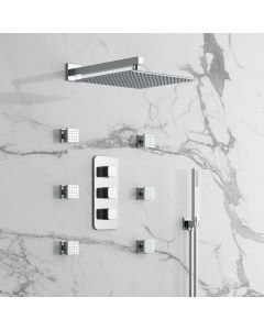 Galway Premium Chrome Square Thermostatic Set - 300mm Head, Hand Shower & Body Jets