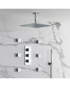 Galway Premium Ceiling Chrome Square Thermostatic Set - 300mm Head, Hand Shower & Jets