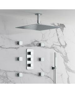 Galway Premium Ceiling Chrome Square Thermostatic Set - 400mm Head, Hand Shower & Jets