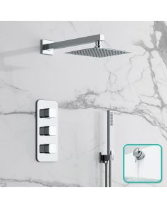 Galway Premium Chrome Square Thermostatic Bath Filler Shower Set - 200mm Head & Hand Shower