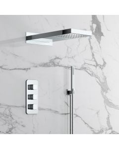 Galway Premium Chrome Square Thermostatic Waterfall Shower Set & Hand Shower