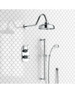 Shannon Premium Traditional Thermostatic Shower Set - 200mm Head & Slider Shower