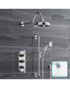 Shannon Premium Traditional Thermostatic Set - 200mm Head, Slider Shower & Bath Filler Waste