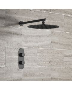 Ballina Premium Matt Black Round Thermostatic Shower Set - 300mm Head