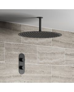 Ballina Premium Ceiling Matt Black Round Thermostatic Shower Set - 400mm Head