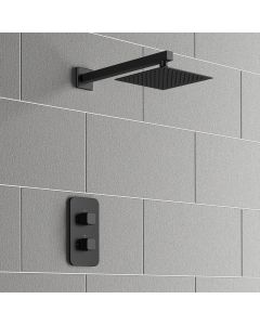 Galway Premium Matt Black Square Thermostatic Shower Set - 200mm Head