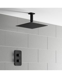 Galway Premium Ceiling Matt Black Square Thermostatic Shower Set - 300mm Head