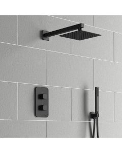 Galway Premium Matt Black Square Thermostatic Shower Set - 200mm Head & Hand Shower
