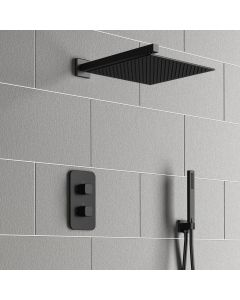 Galway Premium Matt Black Square Thermostatic Shower Set - 300mm Head & Hand Shower