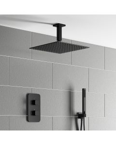 Galway Premium Ceiling Matt Black Square Thermostatic Shower Set - 300mm Head & Hand Shower