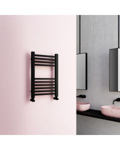 Valetta Matt Black Square Heated Towel Rail 650x400mm