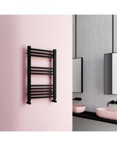 Valetta Matt Black Square Heated Towel Rail 800x450mm