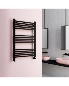 Valetta Matt Black Square Heated Towel Rail 1000x600mm