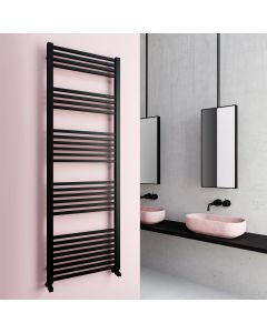 Valetta Matt Black Square Heated Towel Rail 1800x600mm