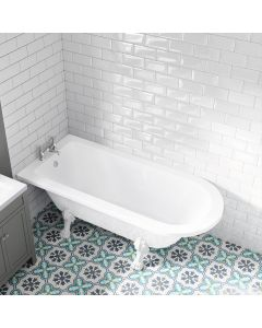 Abingdon 1700mm Single Ended Roll Top Bath - White Feet