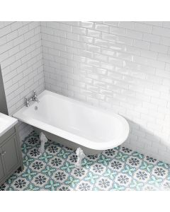 Abingdon 1500mm Dove Grey Single Ended Roll Top Bath - White Feet