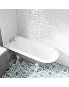 Abingdon 1700mm Dove Grey Single Ended Roll Top Bath - White Feet