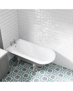 Abingdon 1500mm Dove Grey Single Ended Roll Top Bath - Grey Feet