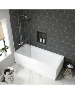 Hereford 1700x700mm Square Shower Bath & 6mm Easy Clean Screen