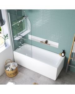 Warwick 1700x700mm Traditional Shower Bath & 6mm Easy Clean Screen With Rail