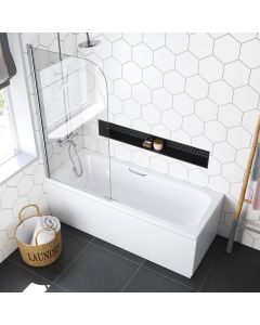 Alnwick 1700x700mm Round Shower Bath & Grip Handle With 6mm Easy Clean Screen