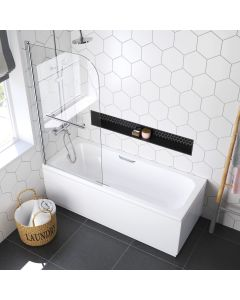 Alnwick 1700x700mm Round Shower Bath & Grip Handle With 6mm Easy Clean Screen With Rail