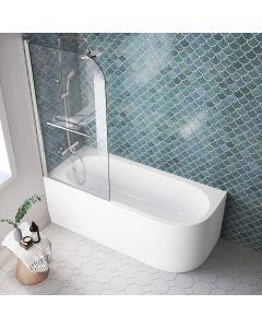 Oakham 1700mm Space Saving Shower Bath & 6mm Easy Clean Screen With Rail - Left Handed