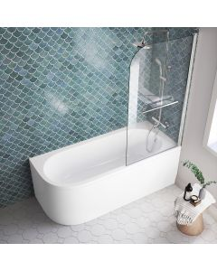 Oakham 1700mm Space Saving Shower Bath & 6mm Easy Clean Screen With Rail - Right Handed