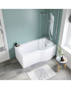 P Shaped 1500mm Shower Bath With Front Panel & 4mm Screen - Right Handed