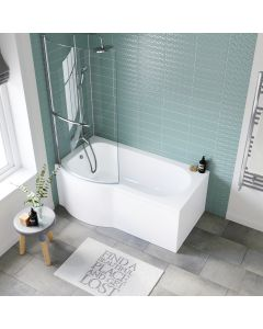 P Shaped 1500mm Shower Bath With Front Panel & 4mm Screen With Rail - Left Handed