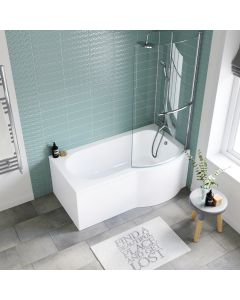 P Shaped 1500mm Shower Bath With Front Panel & 4mm Screen With Rail - Right Handed