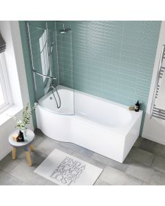 P Shaped 1700mm Shower Bath With Front Panel & 4mm Screen With Rail - Left Handed