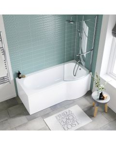 P Shaped 1700mm Shower Bath With Front Panel & 4mm Screen With Rail - Right Handed
